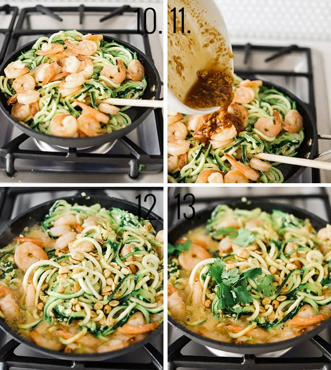 Photos showing noodles pad thai being made in a cast iron skillet.