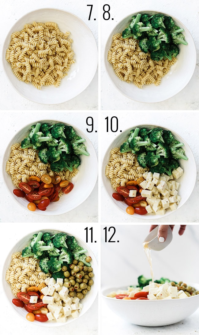 How to assemble pasta salad, in a bowl add pasta, broccoli, tomato, cheese, and olives. Toss with dressing.