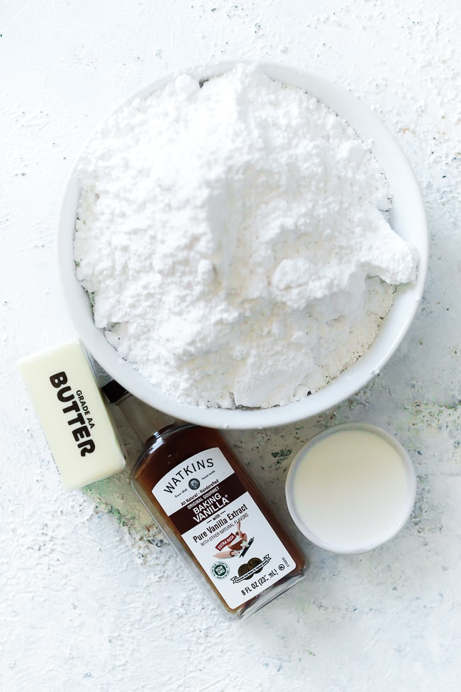 Ingredients needed for browned butter frosting.