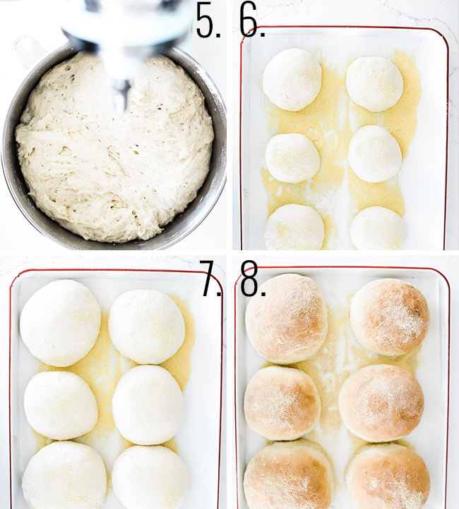 How to make bread bowls steps 5-8. Let the dough rise, form balls, let rise, and bake.