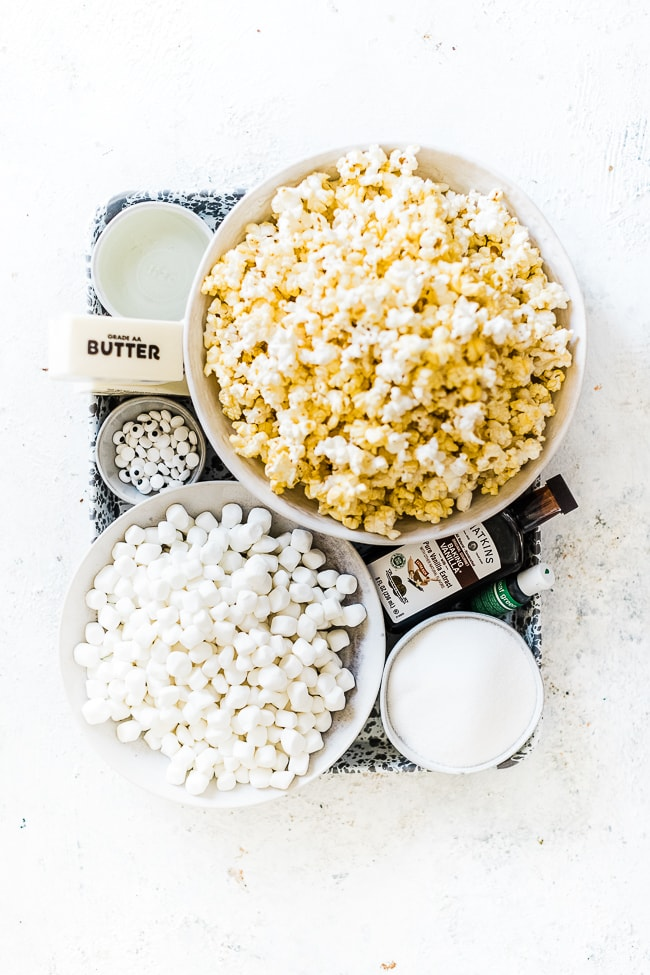 Ingredients needed for marshmallow popcorn.