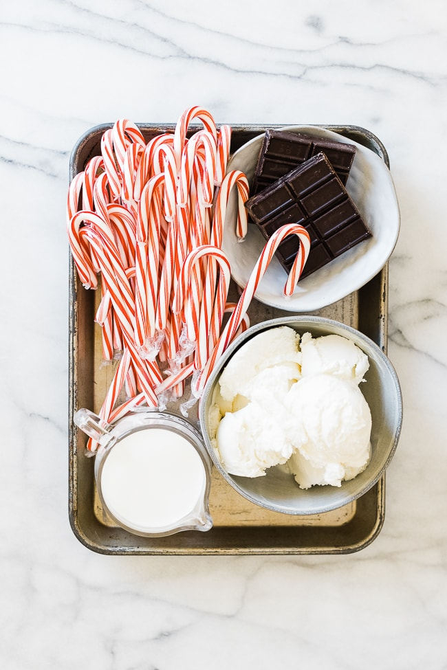 Ingredients needed to make a peppermint shake on a baking tray.
