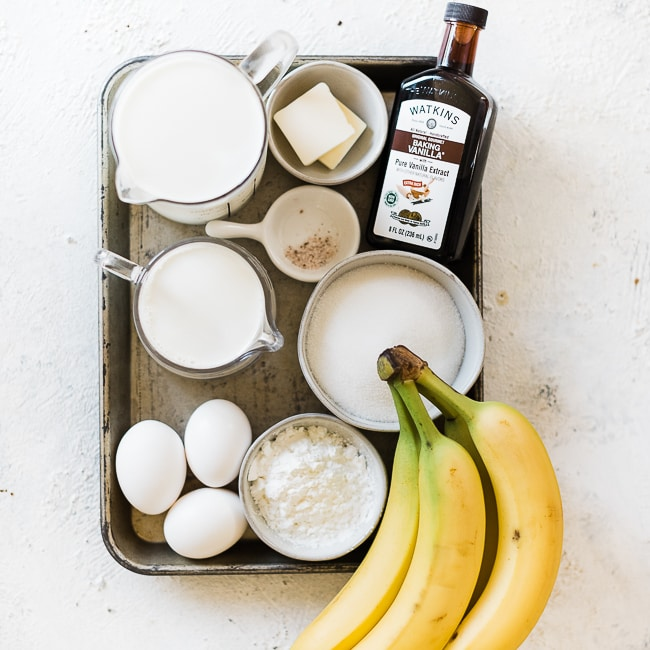 Ingredients needed to make easy banana cream pie recipe in a baking tray.