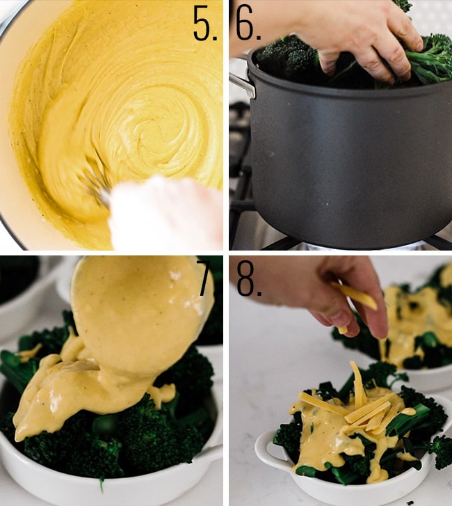 How to prepare broccoli and cheese sauce.