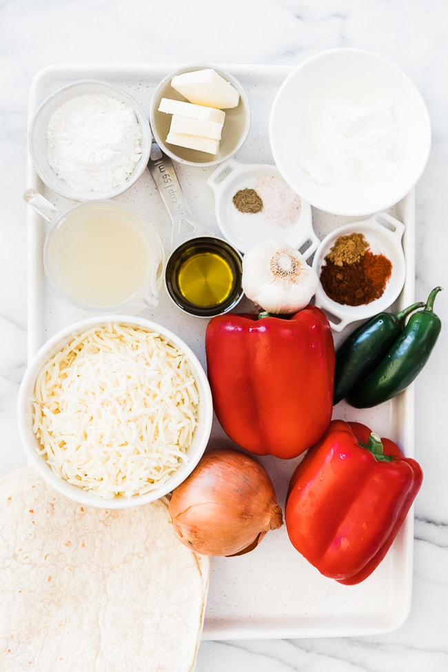 Ingredients needed for Enchilada sauce with sour cream.