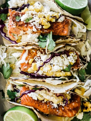 A close up of blackened salmon tacos.