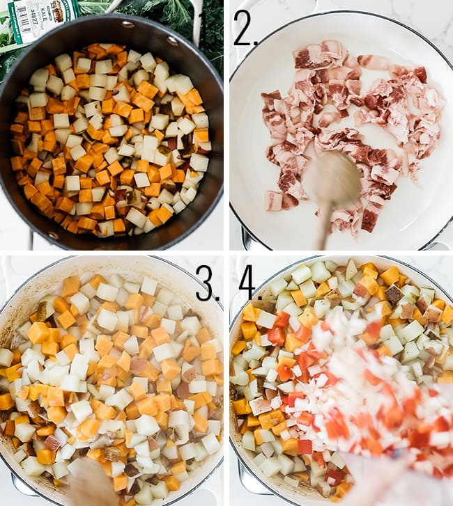 How to parboil potatoes and cook bacon.