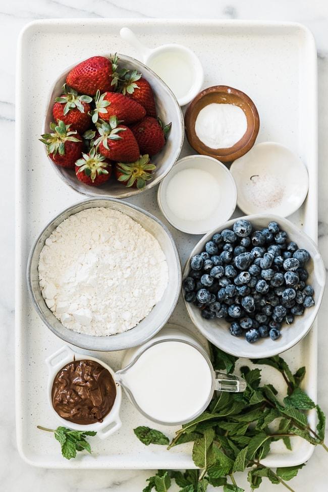 Ingredients needed to make chocolate banana pancake skewers.