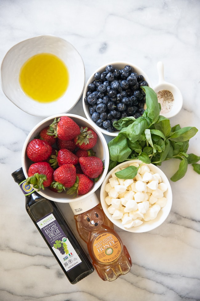 Ingredients needed for summer strawberry salad