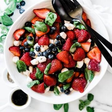 An overhead shot of summer strawberry caprese salad