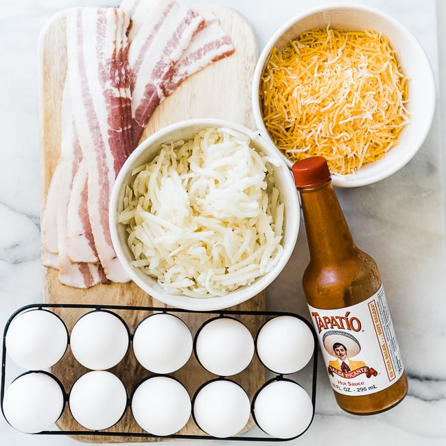 Ingredients needed to make breakfast burritos.