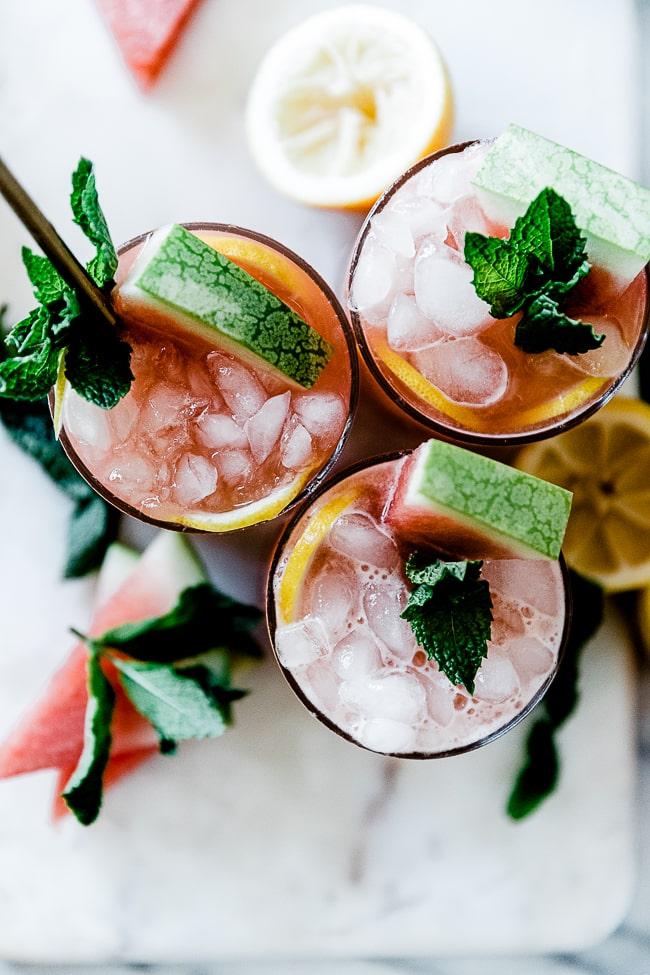 An overhead shot of watermelon lemonade.