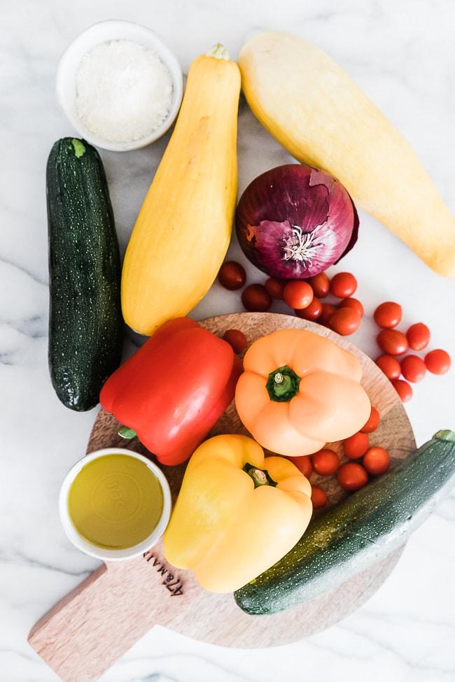 Ingredients needed for veggie skewers.