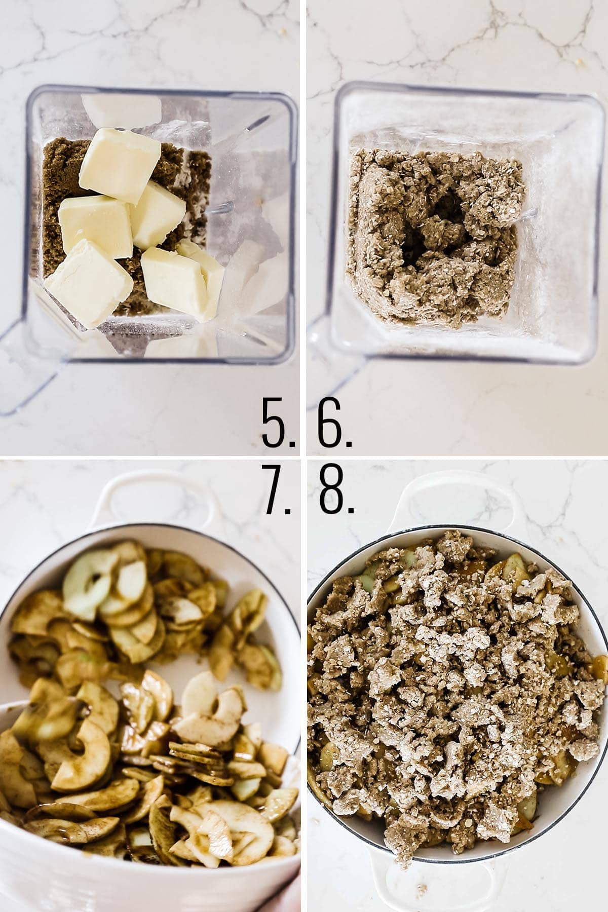How to make crumb topping - pulse butter and oats.