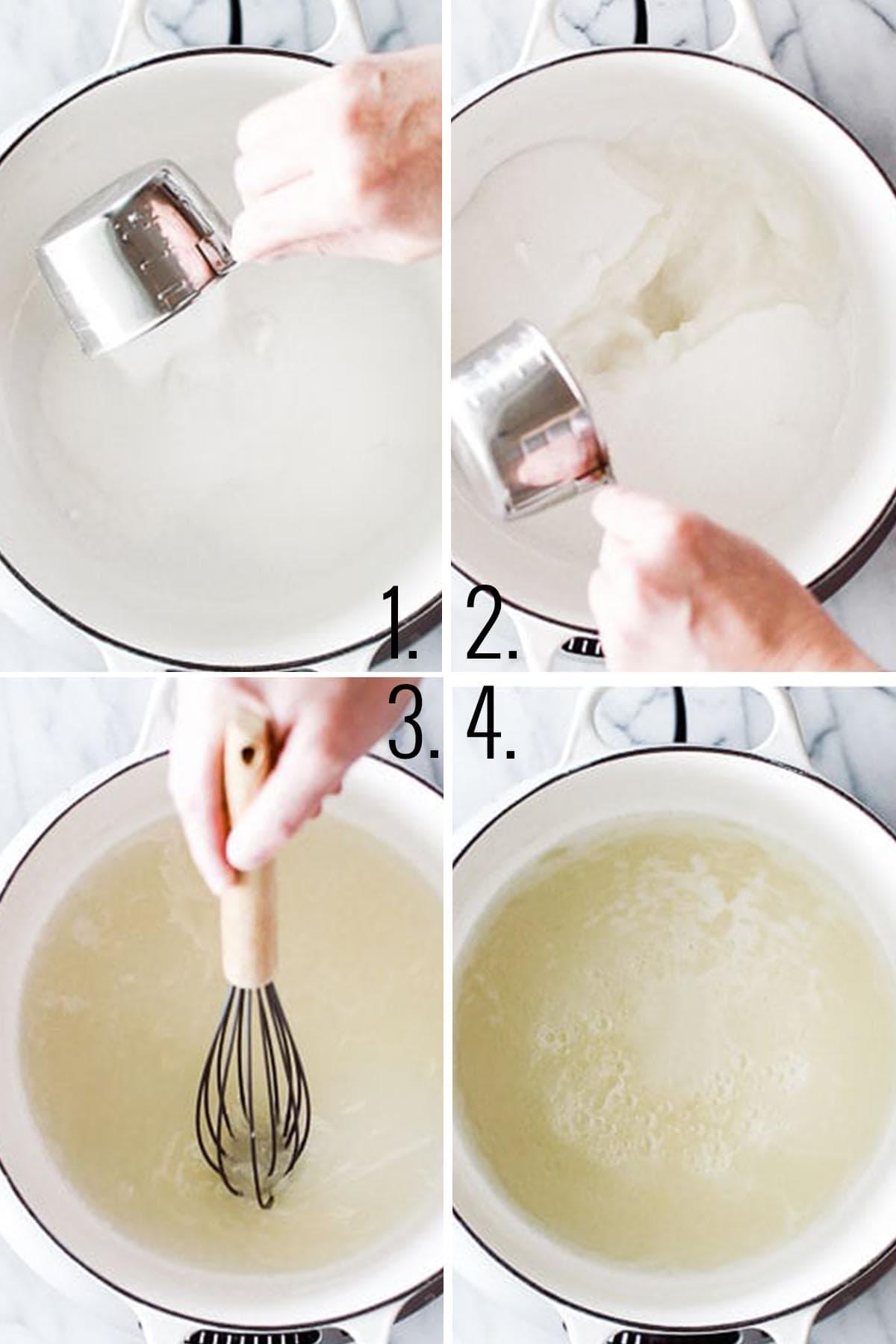 Hot to make caramel - cook sugar.
