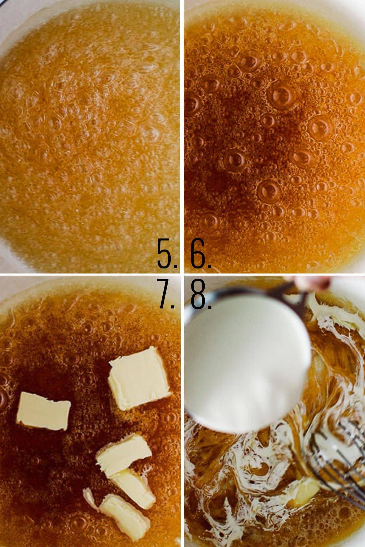 How to make caramel - darken, add butter and cream.