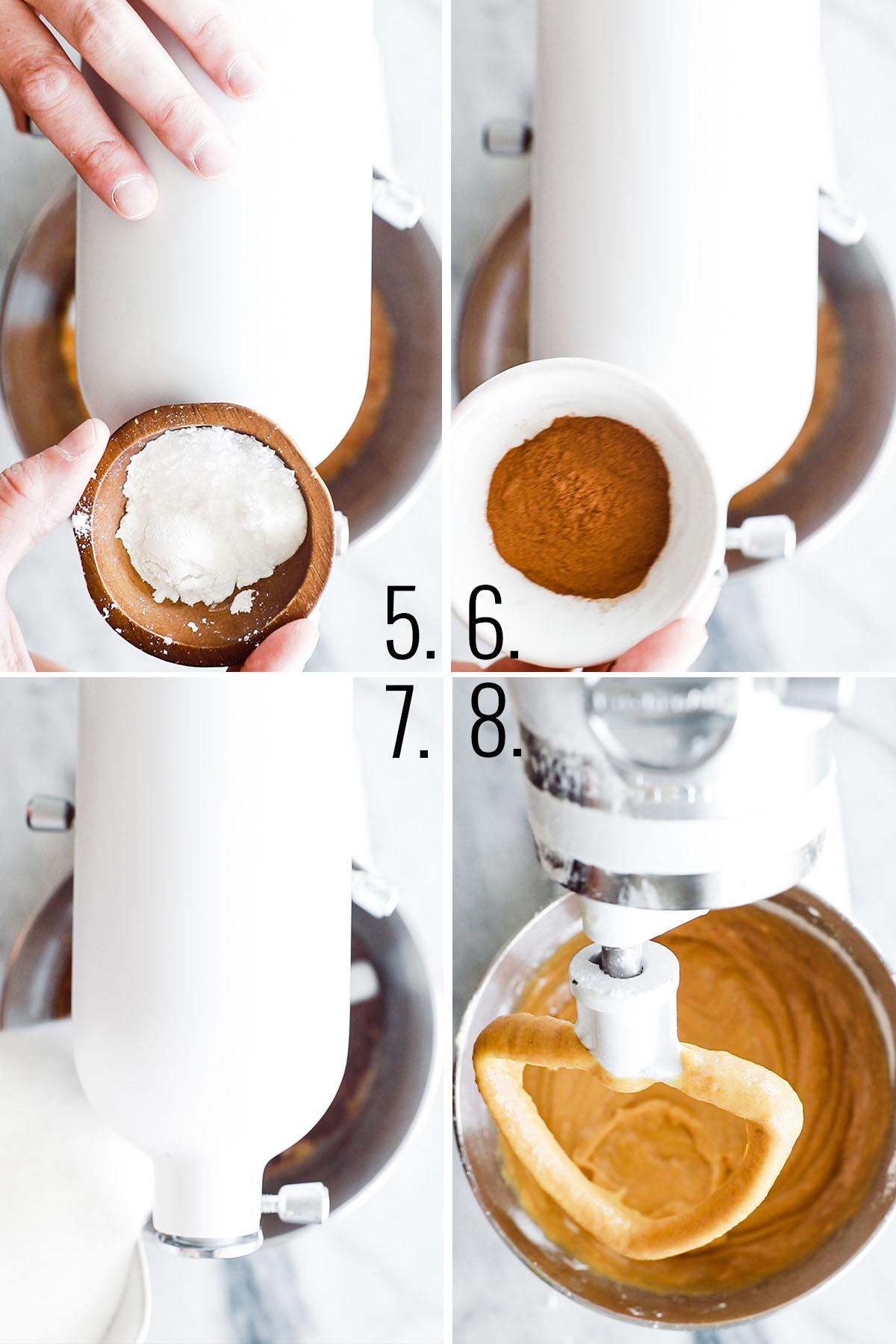 four process shots adding dry ingredients to kitchenaid mixer