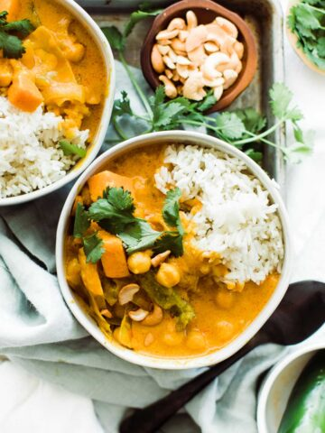 unclose shot of pumpkin curry with rice
