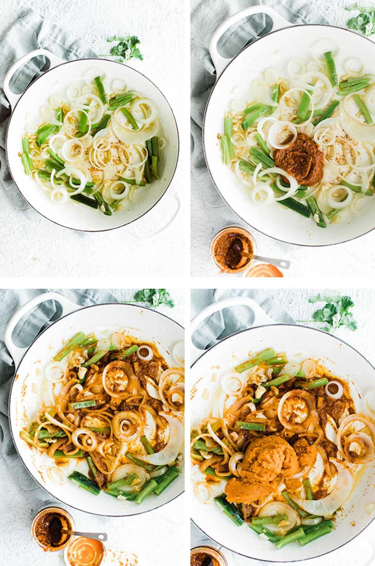 4 photos adding ingredients to pan