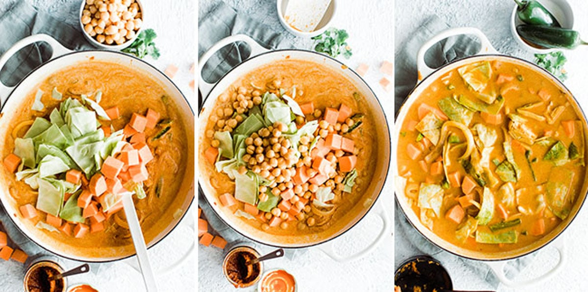 three photos adding veggies and beans then simmering